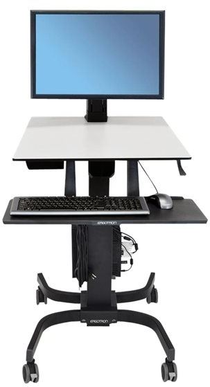 Ergotron 24-216-085 - Ergotron WorkFit-C Single HD Sit-Stand Workstation - Escritorio para estar sentado/de pie - móvil - oficina - rectangular - gris