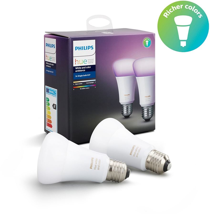 Philips 8718696729052 - Philips Hue White and color ambiance - Bombilla LED - E27 - 10 W - clase A+ - 16 millones de colores (paquete de 2)