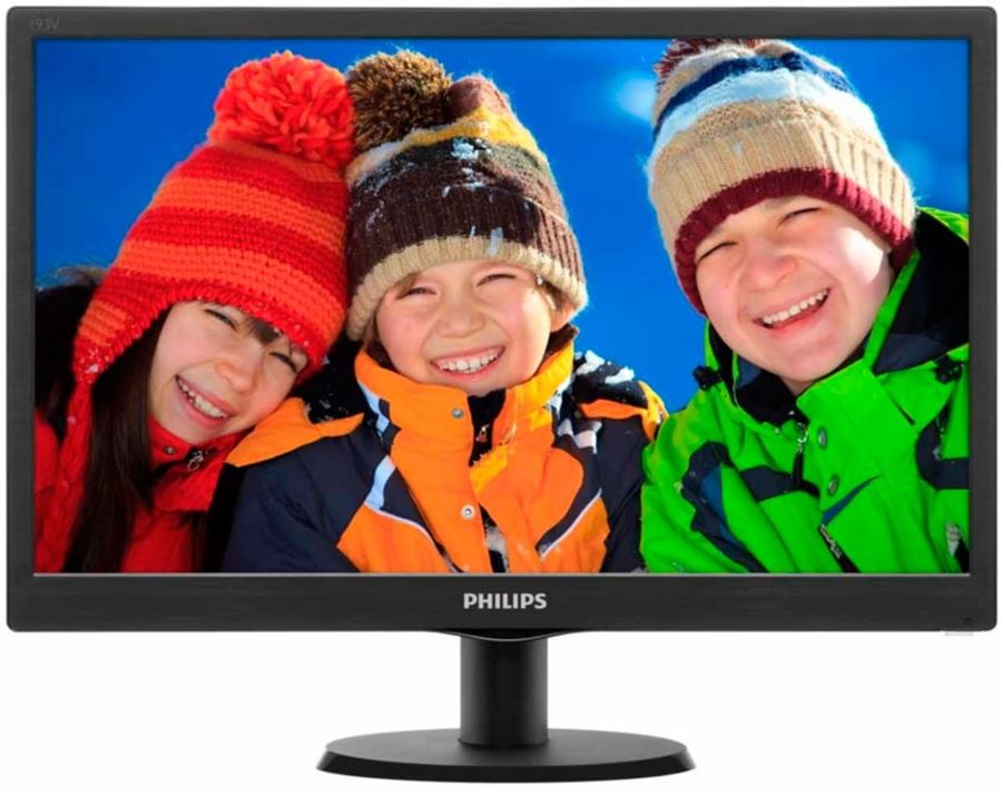 "Philips 193V5LSB2/10 - Philips V-line 193V5LSB2 - Monitor LED - 18.5"" - 1366 x 768 - 200 cd/m² - 700:1 - 5 ms - VGA - negro con textura, cabello negro"