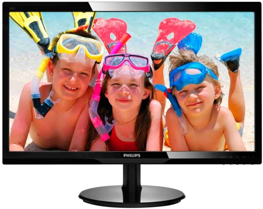 "Philips 246V5LHAB/00 - Philips V-line 246V5LHAB - Monitor LED - 24"" - 1920 x 1080 Full HD (1080p) - 250 cd/m² - 1000:1 - 1 ms - HDMI, VGA - altavoces - negro con textura, negro brillant"