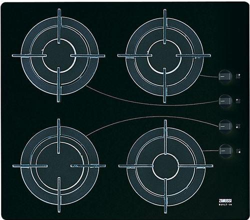 Encimera independiente zanussi zgg 645 icn a gas con 4 for Encimera cristal gas