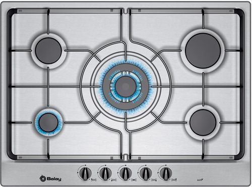 Placa de cocina balay 5 fuegos con zona gigante acero - Placa cocina gas natural ...