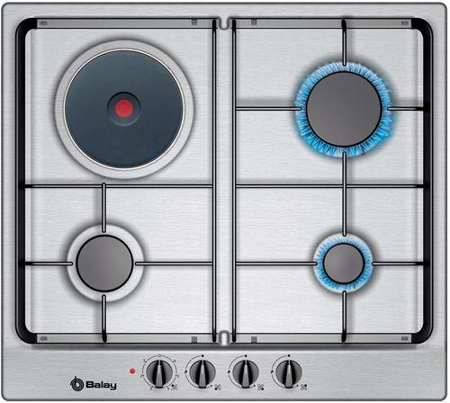 Placa mixta de cocina balay 3 fuegos 1 electrico acero inox ancho 58 2cm 3etx333n - Cocina gas balay ...