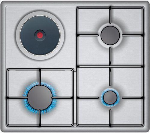 Placa mixta de cocina balay 3 fuegos 1 electrico acero inox gas butano 3efx333b - Cocina gas balay ...