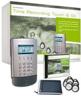 Sistema de fichado y control horario ChipDrive® Time Recording Touch & Go - Paquete completo - 25 contactless tags Mifare (tarjetas chip de proximidad) - Windows