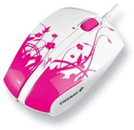 Ratón óptico USB Cherry LADY Corded Optical Mobile Mouse M-T1010 - Reducidas dimensiones - Seduce con su atractiva decoración floral en rosa y blanco