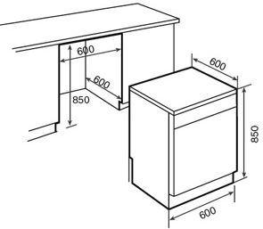 Lavavajillas teka lp7 830 clase a a a 15 cubiertos 16 - Medidas de lavavajillas ...