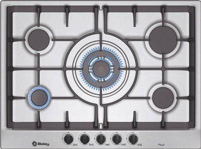 Placa de cocina balay gas natural 70 cm de ancho 5 fuegos zona gigante parrillas - Cocina gas balay ...