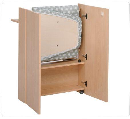 Tabla de planchar con mueble stiraemolla de foppapedretti plegable en madera con ruedas color - Mueble de planchar ...