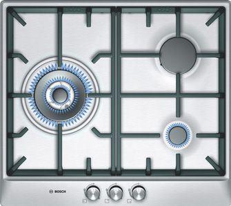 Placa de cocina bosch 60cm 3 quemadores autoencendido gas stop acero parrillas hierro - Placas de cocina de gas ...