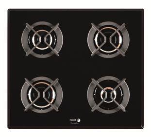 Placa de cocina gas natural crystal gas de fagor 6cfp 4gls nat con 4 zonas con marco redondeado - Placa cocina gas natural ...