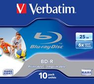 Disco Blu-Ray Verbatim BD-R SL 25GB 6x Printable 10 Pack Jewel Case