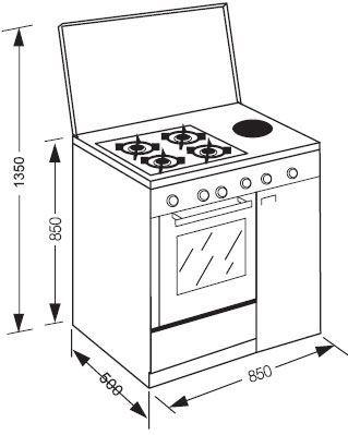 Cocina con portabombonas a gas butano de aspes 4ca 40sp for Cocinas con horno de gas butano baratas