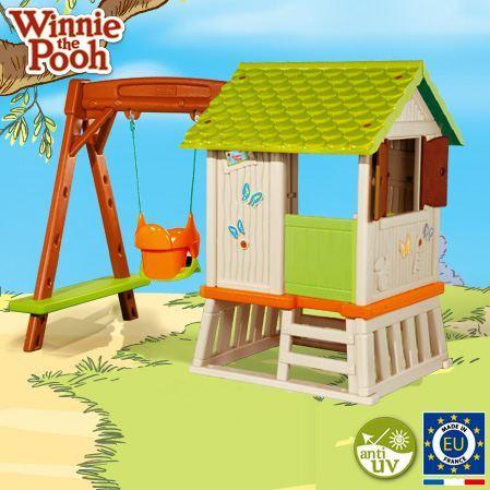 Smoby Cabaña Pórtico Winnie The Pooh, casita infantil con columpio y ...