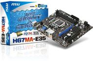 Placa base MSI H67MA-E35 - LGA1155 Core i7 / i5 / i3, 2 x DDR3 Dual, 16 GB RAM máx, Intel® H67 B3, M-ATX, 100MHz, PCI-E Gen2, HDMI,VGA,DVI, GBLAN, 2 x SATA3, 2 x USB 3.0, Audio Flexible 8-channel