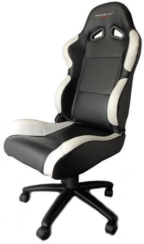 Silla de oficina gaming speedblack seat black white con for Silla gaming con altavoces