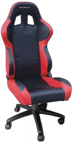 Silla de oficina gaming speedblack seat black red con for Silla gaming con altavoces