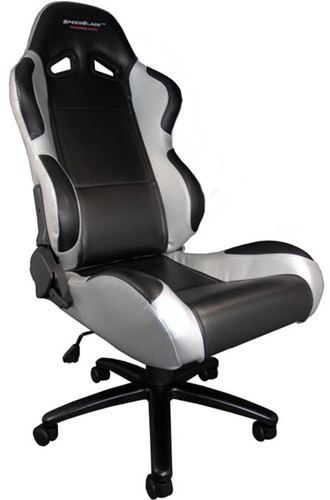 Silla de oficina gaming speedblack seat black silver con for Silla gaming con altavoces
