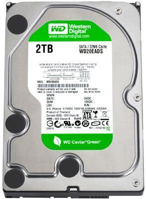 "Disco duro interno Western Digital WD Caviar Green - 2 TB - SATA 6 Gb/s - Buffer 64 MB - IntelliPower - 3.5"" - Desktop - 2 años de garantía (WD20EARX)"
